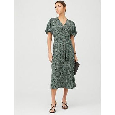 Whistles Anita Spotted Animal Frill Sleeve Dress - Green/Multi