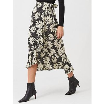 Whistles Starburst Floral Wrap Skirt - Black/White
