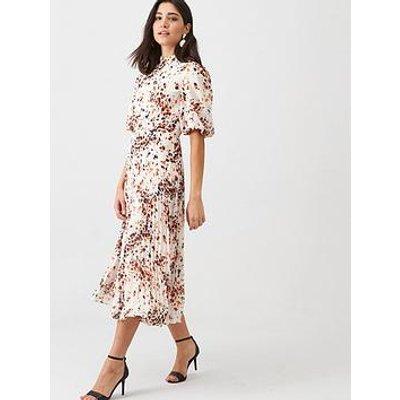 Whistles Mottled Animal Pleated Dress - Cream/Multi