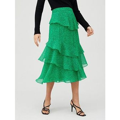 Whistles Sketched Floral Tiered Skirt - Green/Multi