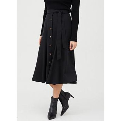 Whistles Marissa Button Through Skirt - Black