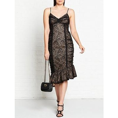 Talulah Masquerade Lace Overlay Midi Dress - Black
