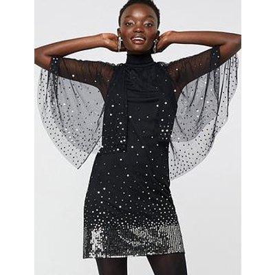 Monsoon Kimberley Sequin Cape Dress - Black