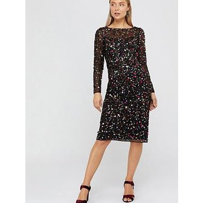 Monsoon Megan Sequins Midi Dress - Black