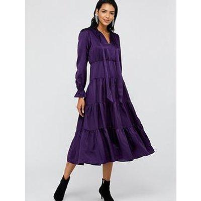 Monsoon Violet Silk Midi Dress - Purple