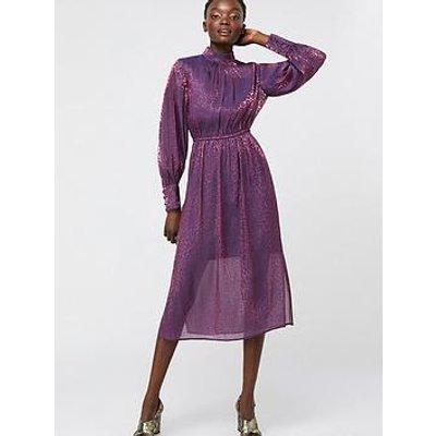 Monsoon Phi Phi Animal Shimmer Midi Dress - Purple