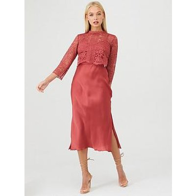 Little Mistress Floral Lace Overlay Midi Dress - Pink
