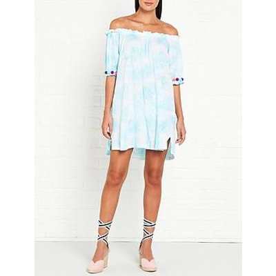 Pitusa Pitusa Tie Dye Pom Pom Dress - Blue