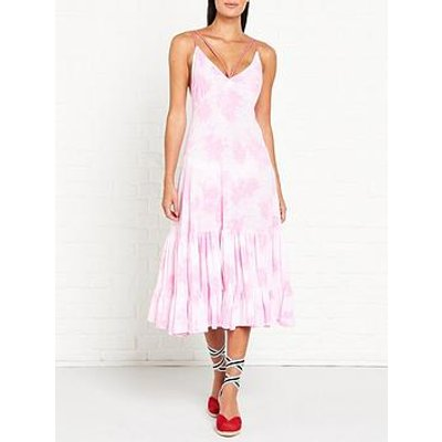 Pitusa Pitusa Tie Dye Strappy Midi Dress - Pink