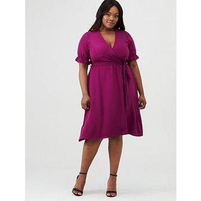 V By Very Curve Crepe Cuff Sleeve Tea Dress - Purple