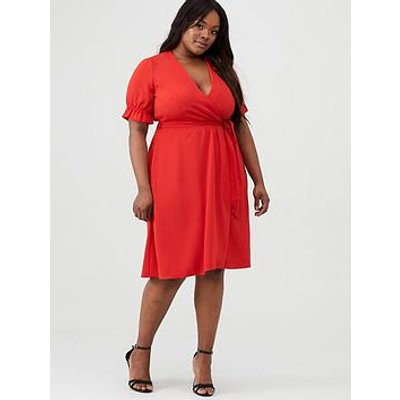 V By Very Curve Crepe Cuff Sleeve Tea Dress - Red