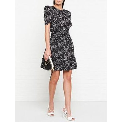 Kenzo Soft Flare Smocking Dress - Black
