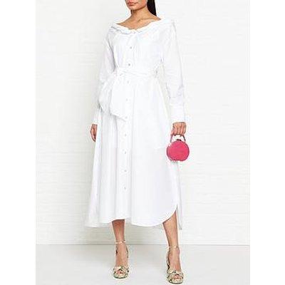 Kenzo Collar Roll Up Long Dress - White