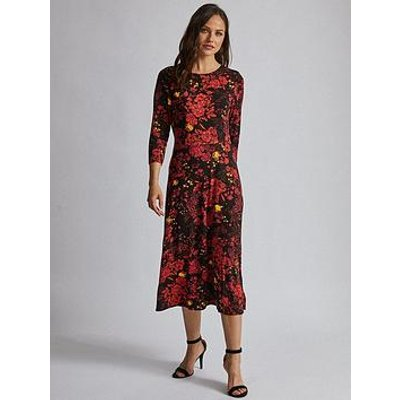Dorothy Perkins Dorothy Perkins 3/4 Sleeve Floral Midi Dress - Red