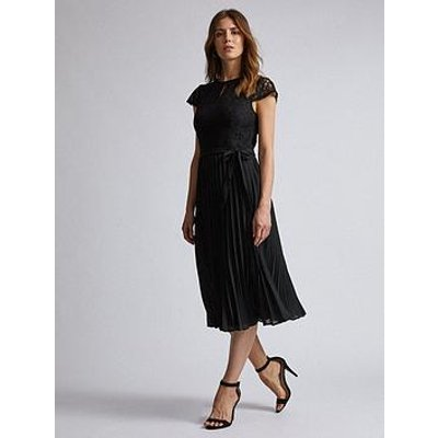 Dorothy Perkins Dorothy Perkins Lace Pleated Midi Dress - Black