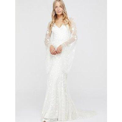 Monsoon Evelina Bridal Embellished Flute Sleeve Dress