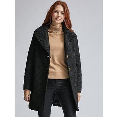Dorothy Perkins Boucle One Button Coat - Black