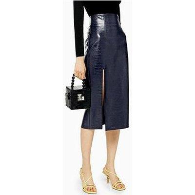 Topshop Croc Pu Pencil Midi Skirt - Navy
