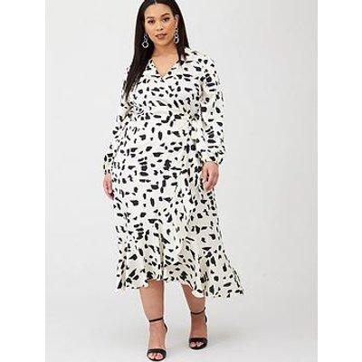 V By Very Curve Satin Ruffle Print Maxi Dress - Mono Print