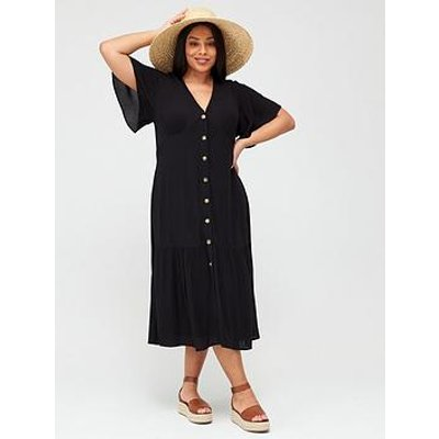 V By Very Curve Crinkle Open Back Button Through Dress - Black
