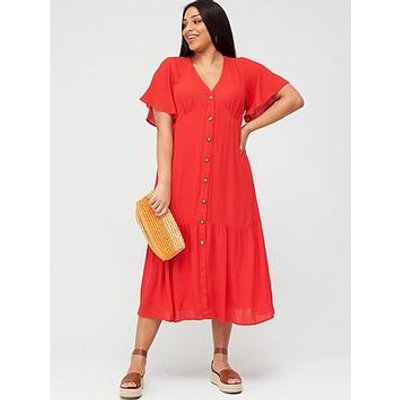 V By Very Curve Crinkle Open Back Button Through Dress - Red