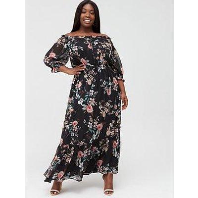 V By Very Curve Bardot Occasion Maxi Dress - Multi Print