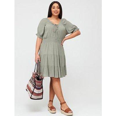 V By Very Curve Tiered Crinkle Dress - Khaki