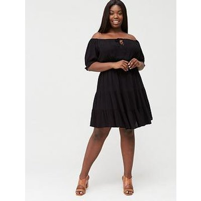 V By Very Curve Tiered Crinkle Dress - Black