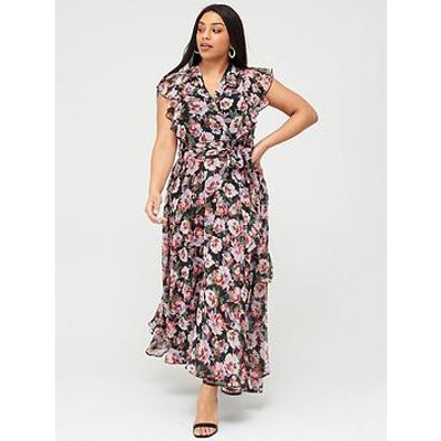 V By Very Curve Ruffle Printed Maxi Dress - Print