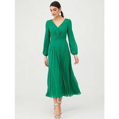 V By Very Twist Front Midaxi Dress - Green