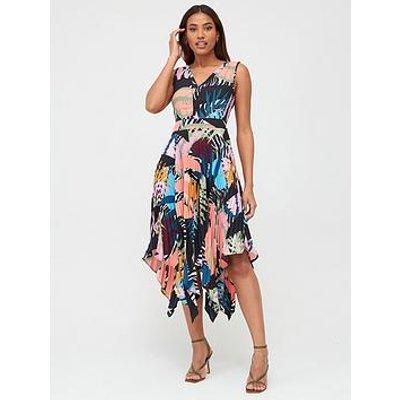 V By Very Pleat Skirt Midi Dress - Print