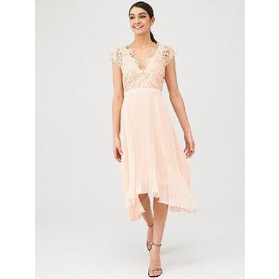 V By Very Bridesmaid Pleated Skirt Lace Top Midi Dress - Blush