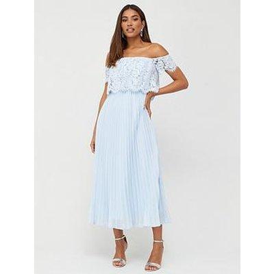 V By Very Lace Bardot Pleated Skirt Prom Dress - Blue