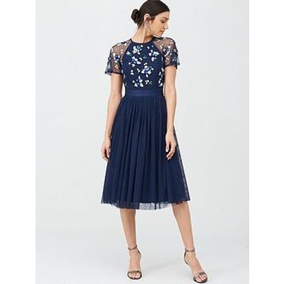 V By Very Embellished Tulle Bridesmaid Prom Dress - Navy
