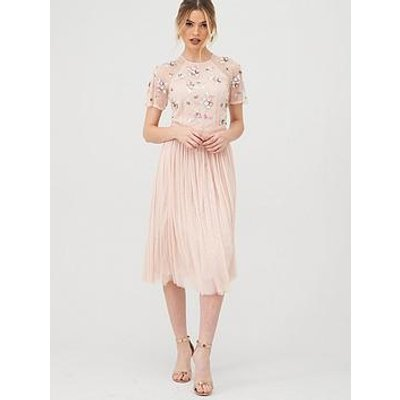 V By Very Embellished Tulle Bridesmaid Prom Dress - Blush
