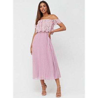V By Very Lace Bardot Pleated Skirt Prom Dress - Mauve