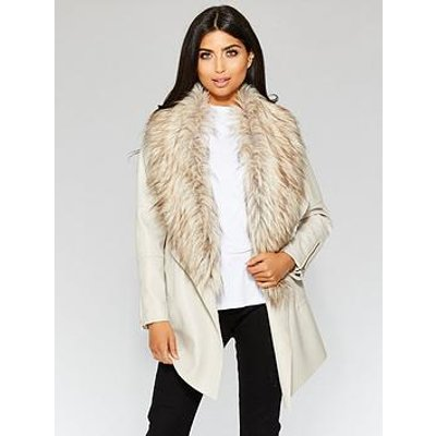 Quiz Quiz Stone Pu Waterfall Faux Fur Trim Zip Jacket