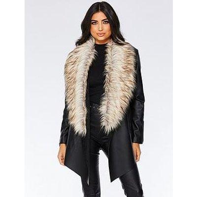 Quiz Quiz Black Pu Waterfall Faux Fur Trim Zip Jacket