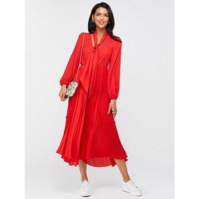 Monsoon Kate Pleat Tier Plain Midi Dress - Red