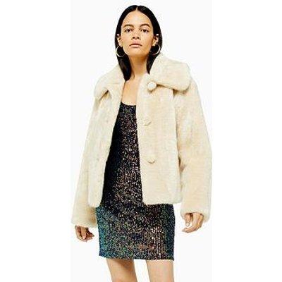Topshop Faux Fur Button Up Jacket- Ivory