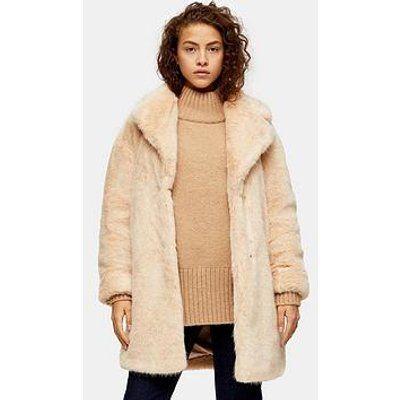 Topshop Mid Length Faux Fur Jacket - Nude