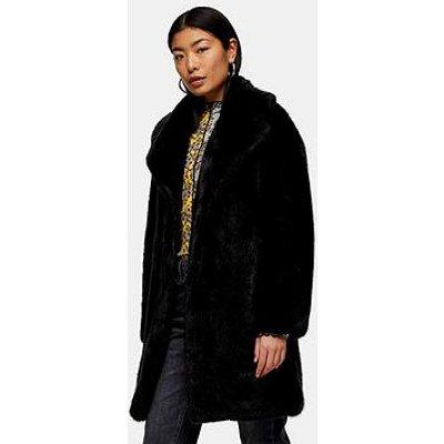 Topshop Mid Length Faux Fur Jacket - Black