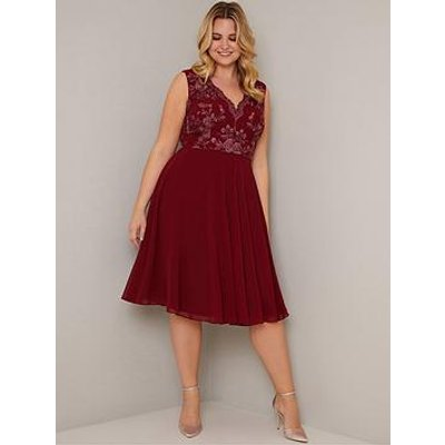Chi Chi London Curve Thalia Dress - Burgundy