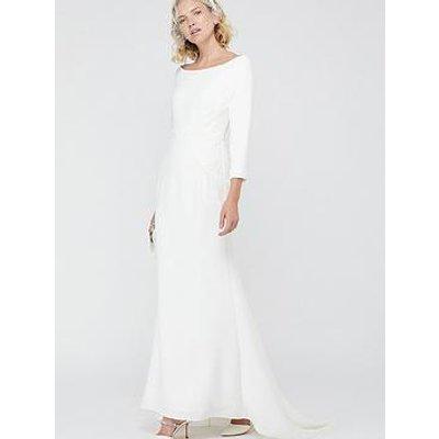 Monsoon Una Bridal Bardot Crepe Lace Maxi Dress - Ivory
