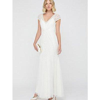 Monsoon Nora Bridal Embellished Long Sleeve Maxi Dress - Ivory