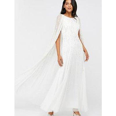Monsoon Naomi Bridal Embellished Cape Maxi Dress - Ivory