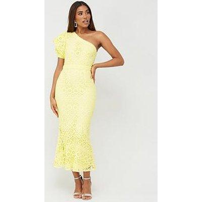 V By Very One Shoulder Fluted Hem Lace Dress - Lemon