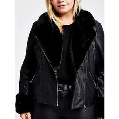 Ri Plus Faux Fur Biker Jacket - Black