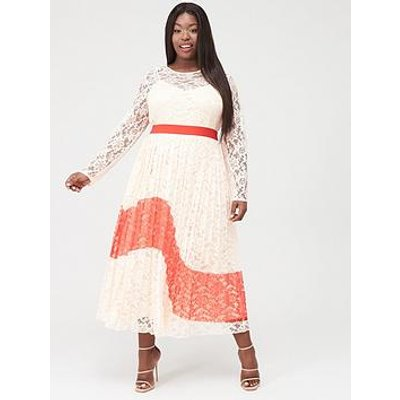 Little Mistress Curve Lace Pleated Midaxi Dress - Multi