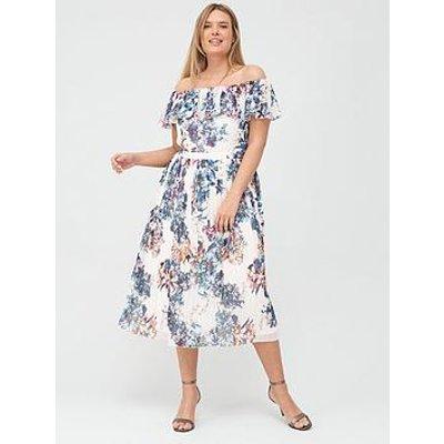 Little Mistress Curve Floral Pleated Bardot Midi Dress - Multi
